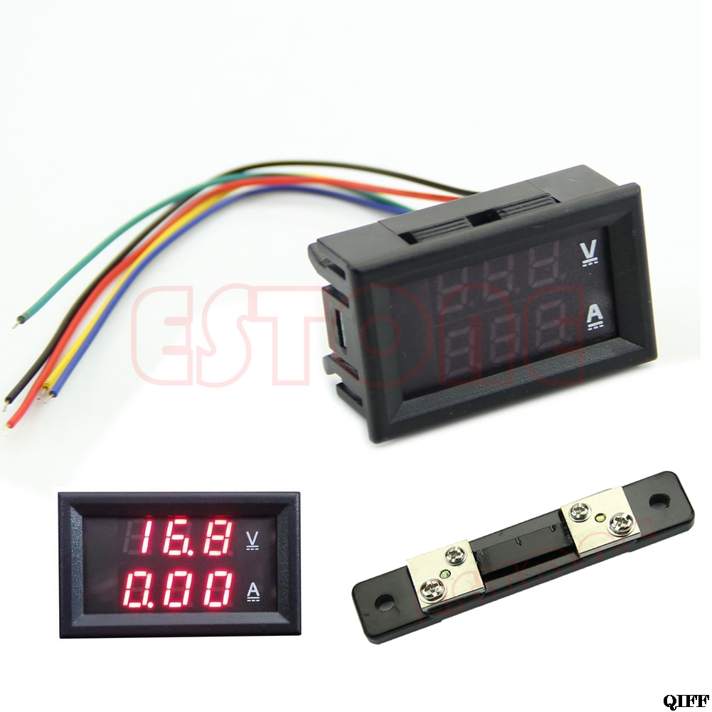 Drop Ship&Wholesale Dual Digital <font><b>Voltmeter</b></font> <font><b>Ammeter</b></font> Red LED Amp Volt Meter <font><b>DC</b></font> <font><b>100V</b></font> <font><b>50A</b></font> +Current Shunt APR28 image