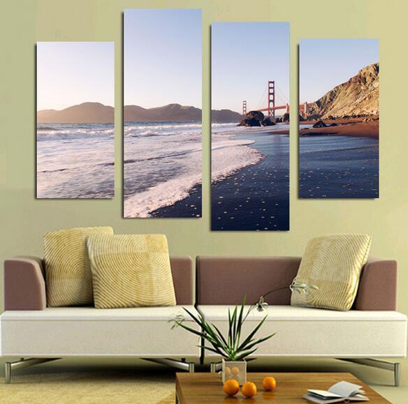 4 Piece Home Decor USA Golden Gate Bridge Oil Painting On