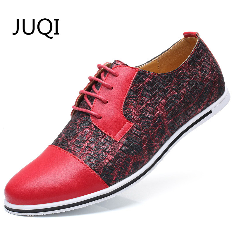 JUQI Casual-Shoes Loafers Plaid Men's Moccasins Rubber Patchwork for Large-Size 49-50