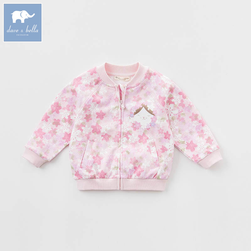 DBJ7654 dave bella spring infant baby girl fashion floral coats children cute top kids  high quality clothesDBJ7654 dave bella spring infant baby girl fashion floral coats children cute top kids  high quality clothes