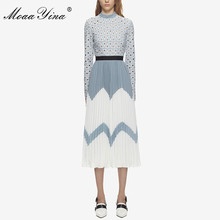 MoaaYina 2018 Fashion Designer Runway Midi Dress Summer Women Stand collar Long sleeve Hollow Out Patchwork Pleated Casual Dress duoupa 2019 new fashion dress summer dress small stand collar fashion stitching hollow long sleeve elegant dress women s