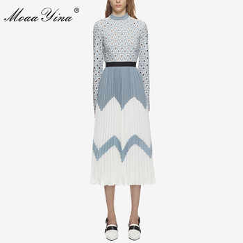 MoaaYina 2018 Fashion Designer Runway Midi Dress Summer Women Stand collar Long sleeve Hollow Out Patchwork Pleated Casual Dress - DISCOUNT ITEM  12% OFF All Category