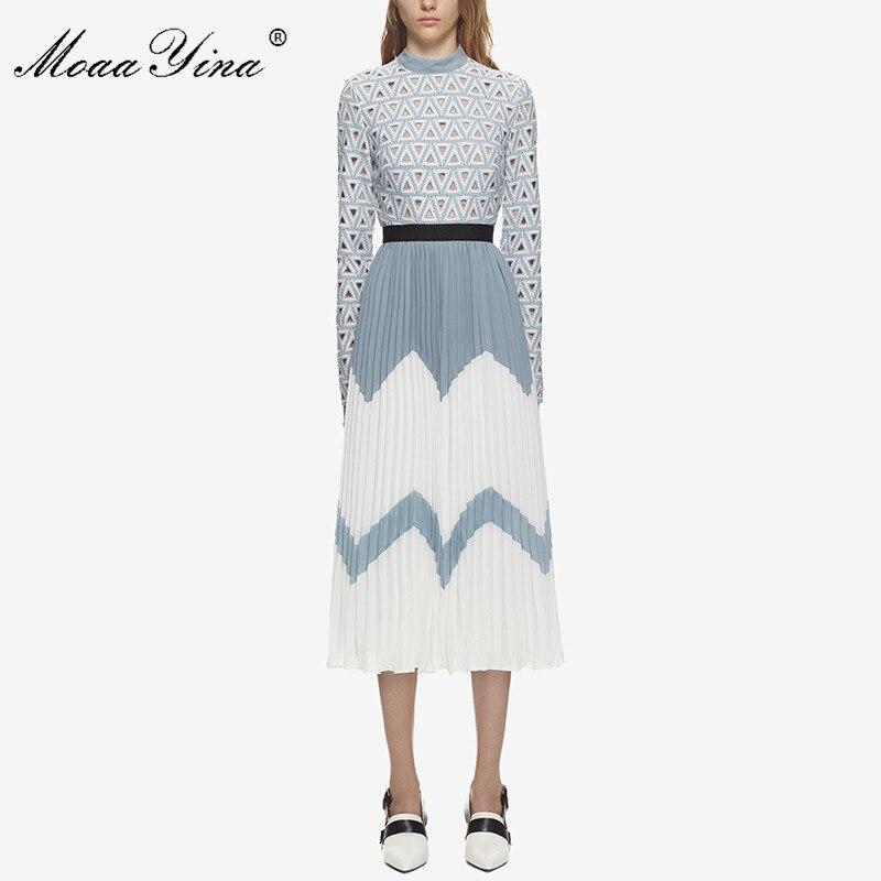 MoaaYina 2018 vestido Midi de moda de diseñador de pasarela de verano de mujer de cuello alto de manga larga ahuecado de retazos plisado vestido Casual-in Vestidos from Ropa de mujer    1