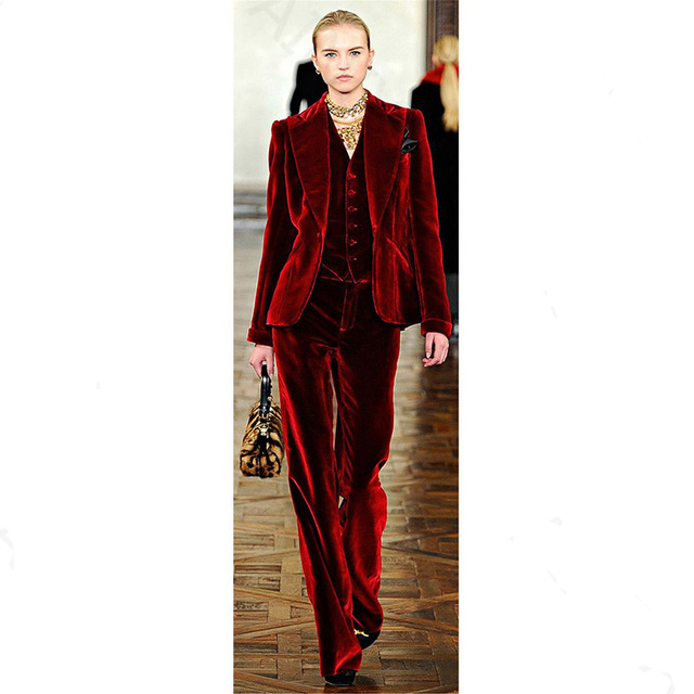 3 Piece Sets Wine Red Velvet Elegant Pant Suits Costumes for Women Office Business Suits Formal Work Wear Office Uniform Styles