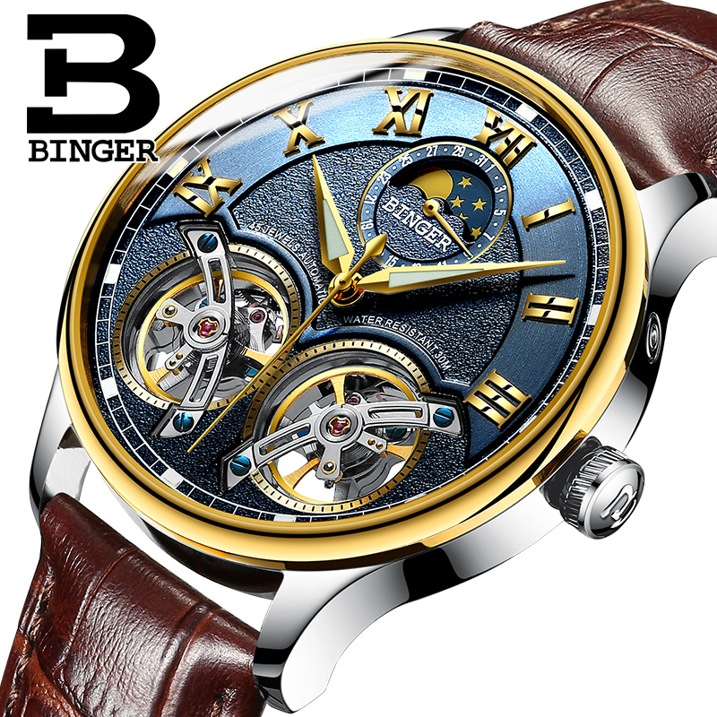 2018 NOUVELLE arrivée hommes de montre de luxe marque BINGER saphir Résistant À L'eau toubillon en acier plein Mécanique horloge B-8606M-10