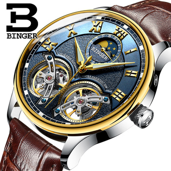 Switzerland Men's Watch Luxury Brand BINGER Sapphire Waterproof Double Toubillon Automatic Mechanical clock Moon Phase B-8606M10