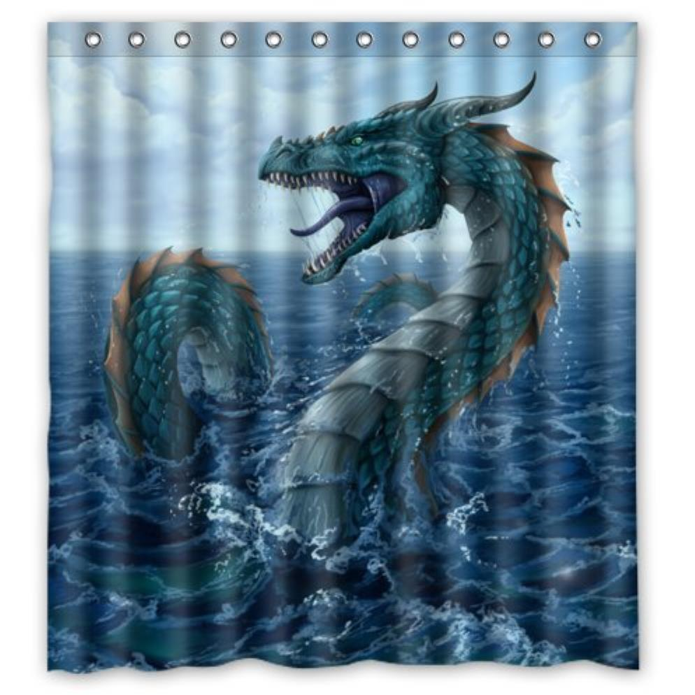 cool Dragonsea Dragons and fire Dragons custom Shower Curtain Pattern Waterproof Fabric Shower Curtain For Bathroom 66*72inch