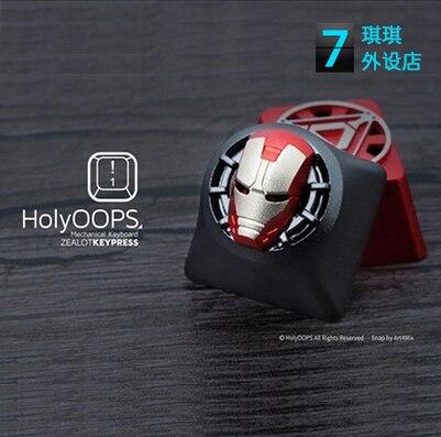 1 pc HolyOOPS 3D clavier mécanique en alliage d'aluminium métal bouchon de clé pour Iron Man translucide keycaps anode