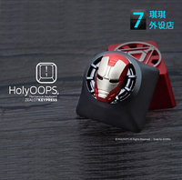 1pc HolyOOPS 3D Mechanical keyboard aluminum alloy metal key cap for Iron Man translucent keycaps anode