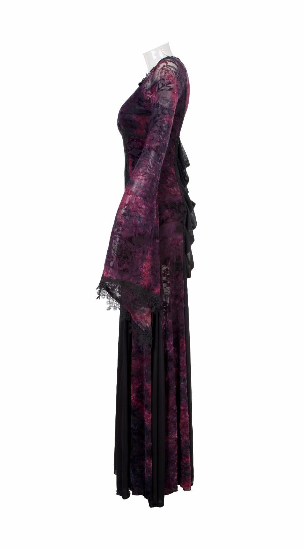 Punk gothique élégant noir & Violet cheville longueur robe Noble Flare robe col en v longue robe avec dentelle-in Robes from Mode Femme et Accessoires    3