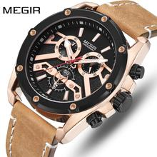 MEGIR Mens Watches Top Brand Luxury Men Fashion Chronograph Quartz Watch Army Military Leather Wrist Watch Relogio Masculino megir original quartz watches men chronograph wristwatches top brand business leather men military watch relogio masculino 5005