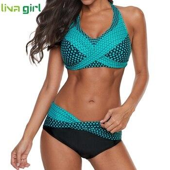 Liva girl Polka Dots Bikinis Set Sexy Swimsuit Push Up Brazilian Bikini Suits Female Swimming Bikini Maillot De Bain Plus Size 2