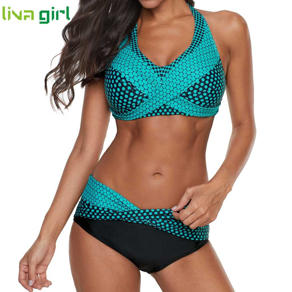 Liva girl Polka Dots Bikinis Set Sexy Swimsuit Push Up Brazilian Bikini Suits Female Swimming Bikini Maillot De Bain Plus Size
