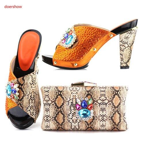 Pompes orange Africain rouge Noir Doershow Design Sacs Chaussures Nouveau Italie G1 2018 Dames Ensemble Et vert Les Femmes 40 Sac rose argent Assortis Italien BRxROw