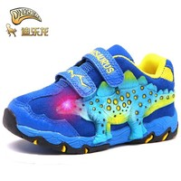 Dinoskulls office kids Shoes boys 3D Dinosaur flash light autumn Winter sneakers children glowing sports shoes Cowhide anti slip