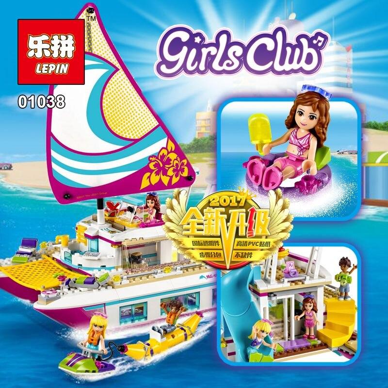 LEPIN 01038 di Serie Della Ragazza Sole Catamarano Set LegoINGlys 41317 Modello di Blocchi di Costruzione di Mattoni Giocattoli Divertenti Per I Bambini Regalo di Compleanno