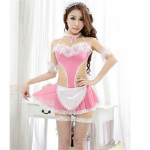 Sexy Lingerie Black White Apron Maid Servant Lolita Costume Dress Uniform Costume Maid Clothing Fascinate Sex Products Role Play