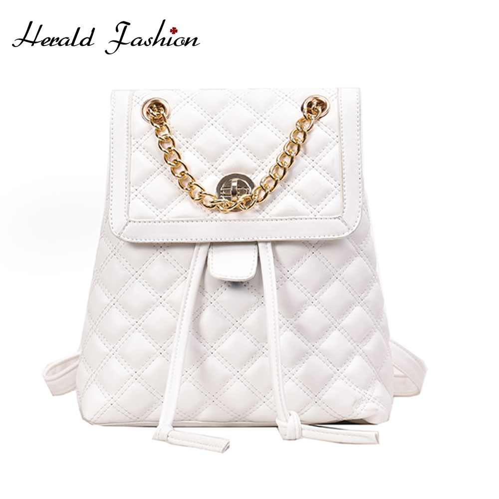 Herald Fashion Women Plaid Backpack Chain Black White Solid Female Backpacks High Quality PU Leather Bags Ladies New Arrivals