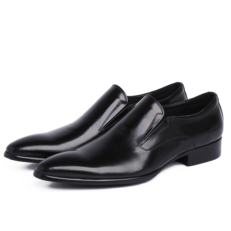 pointed toe mens flats Black /brown tan oxfords shoes genuine leather business dress shoes formal office shoes free shipping