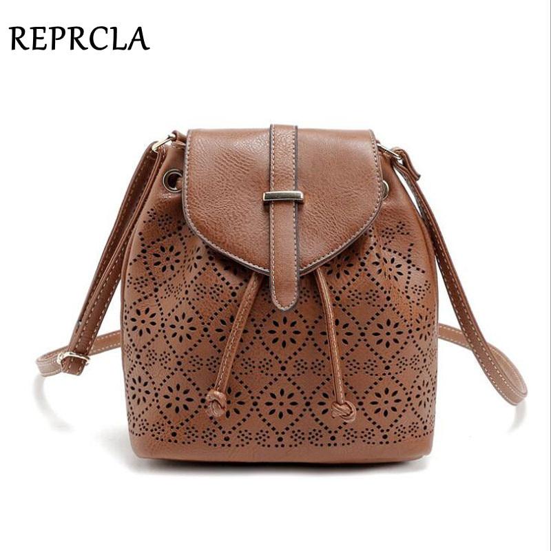 Luxury Hollow Out Shoulder Bags String Women Bucket Bag Designer PU Leather Messenger Bags Women's High Quality Handbags