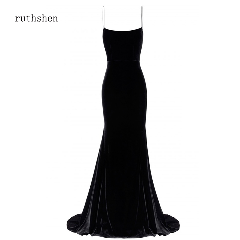 ruthshen Black Dress Long Velvet Gown Elegant Autumn Winter Spring Vestidos robe de soiree Vevet Prom Dress Party 2019