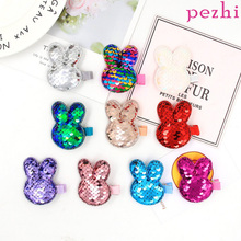 New fashion fish scales sequins cartoon rabbit flip double-sided hairpin cute baby hair accessories girl Liu seaside clip M