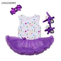 Розовый и фиолетовый летняя одежда для маленьких девочек в горошек для Кружево платье повязка и Обувь набор Vestido De Bebe-пачка наряд для дня рож...