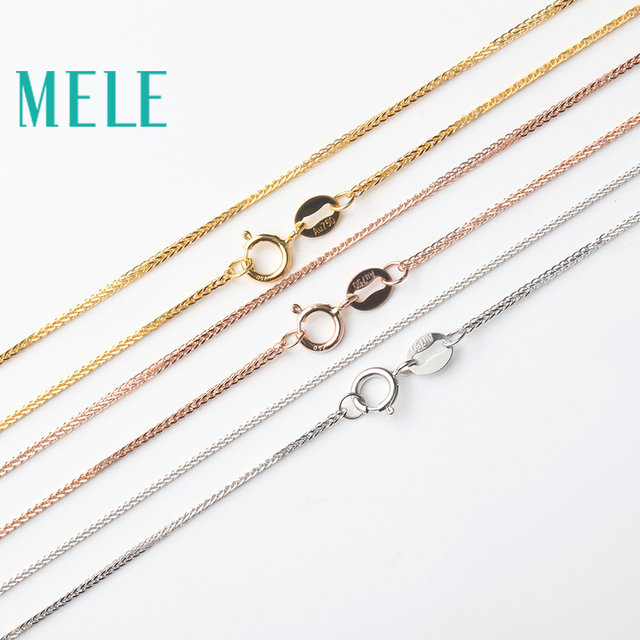 MELE real 18K gold Chopin chain for jewelry pendant,1mm yellow gold rose gold and platinum vegetarian necklace for accessories 1
