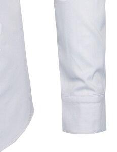 Image 5 - Bianco Fasciato Colletto della Camicia Da Uomo Slim Fit Manica Lunga casual Pulsante Imbottiture Camicette Mens di Business Office di Lavoro Chemise Homme s 2XL