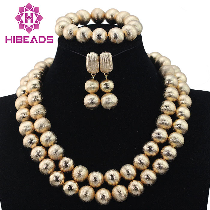 Charming 2 Layers Dubai Gold Beaded Costume Necklace Earrings Bracelet Set Women Party Gift Jewelry Set Free Shipping HX610 allure charming party magic set