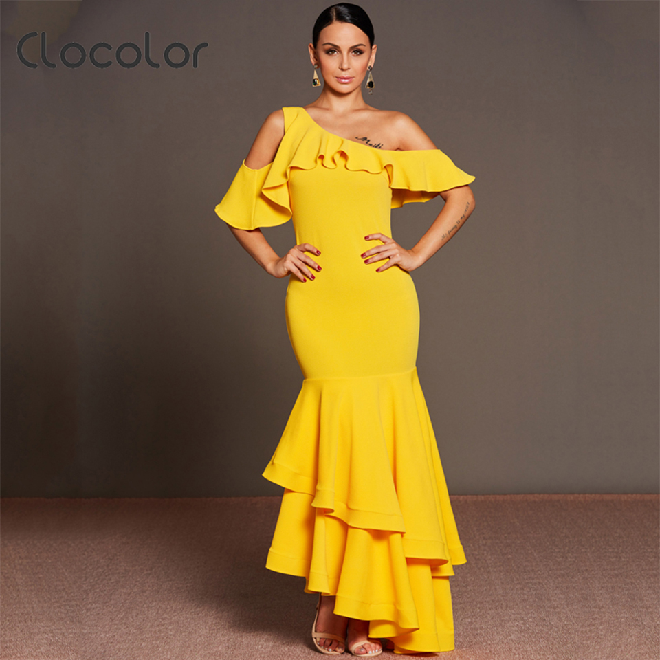 Clocolor New Women Asymmetrical Dress Hollow Out Yellow Spring Female Vintage Elegant Maxi Ruffled Collar Backless Dresses