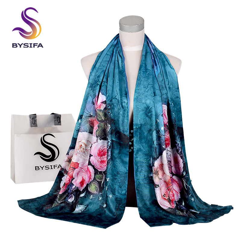 [BYSIFA] Fashion Winter Scarves Women Brand Silk Scarf Shawl Roses Floral Double Faces Buttons Ink Blue Long Scarves 175*50cm