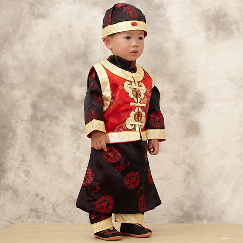 391af1ccf ... Cotton 3pcs New Year Clothing Set for Baby Boys Long Sleeve  Gown+Vest+Hat ...