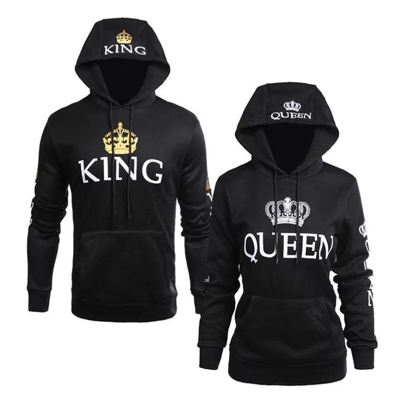 Poshfeel 2018 King Queen Printed Couple Hoodies Women Men Sweatshirt Lovers Couples Hoodies Casual Pullovers Gift 2