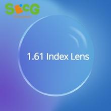 Gafas de prescripción para hipermetropía, lentes ópticas transparentes delgadas de Asphere de alto índice, protección contra la radiación del 1,61, Anti UV HMC, para miopía, 2 uds.