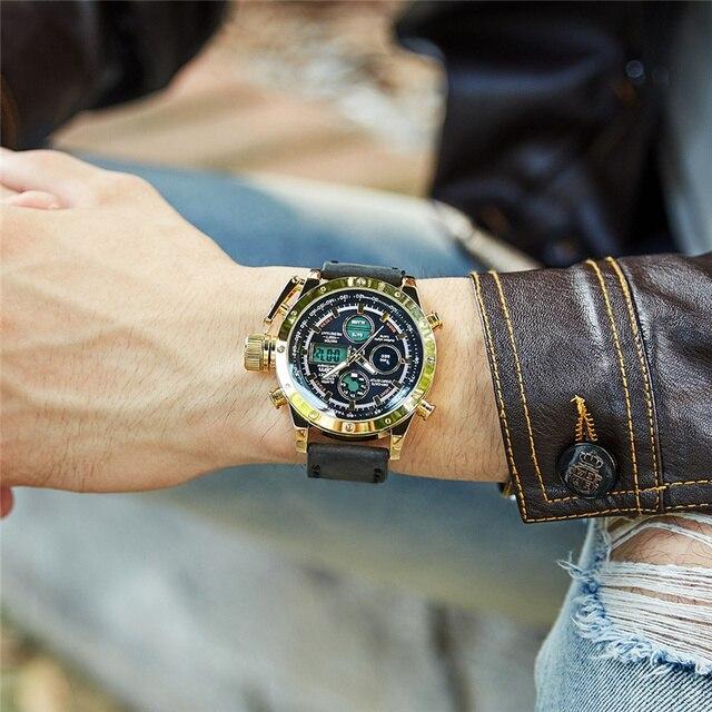 Oulm 新デュアルディスプレイスポーツは、男性の高級ブランドの本物のレザーストラップ腕時計 LED カレンダー多機能クォーツ時計