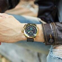 Oulm relojes deportivos de doble pantalla para hombre, reloj de cuarzo multifuncional con calendario LED de reloj de pulsera con Correa de cuero auténtica de marca de lujo
