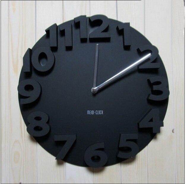 Ronde Horloge Murale Noir 3D Numéros Simple Conception Décor À La Maison