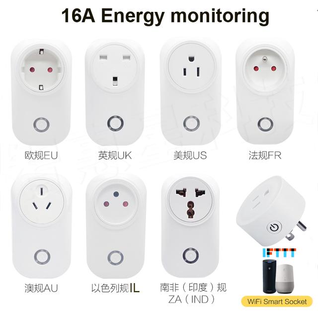 Smart Plug Wifi Smart Socket 16A Power Monitor IFTTT