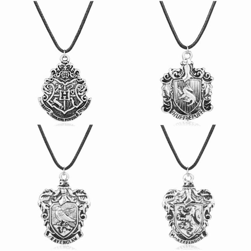 Magic Movie Jewelry Hogwarts School Badge Pendant Necklace Students graduation souvenir Gift Leather Rope Necklace