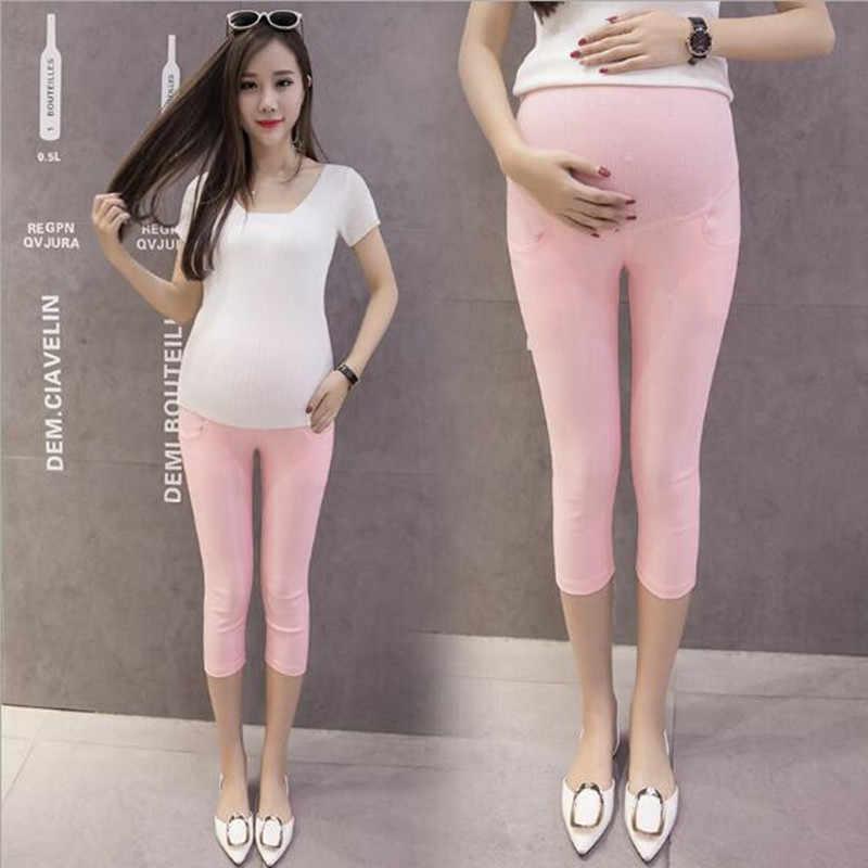 f203250c2d218 ... 7/10 Thin Maternity Legging Elastic Waist Belly Skinny Short Pants  Clothes for Pregnant Women ...
