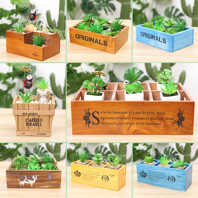 Image 5 - Retro Style Solid Wooden Box Succulent Flower Bed Garden Planter Window Box Trough Pot Plant Bed Pot Garden Supplies-in Flower Pots & Planters from Home & Garden