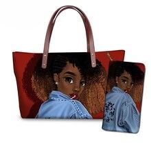NOISYDESIGNS bags for women 2019 travel handbags black art african girls printing top-handle females beach hand bag bolsa