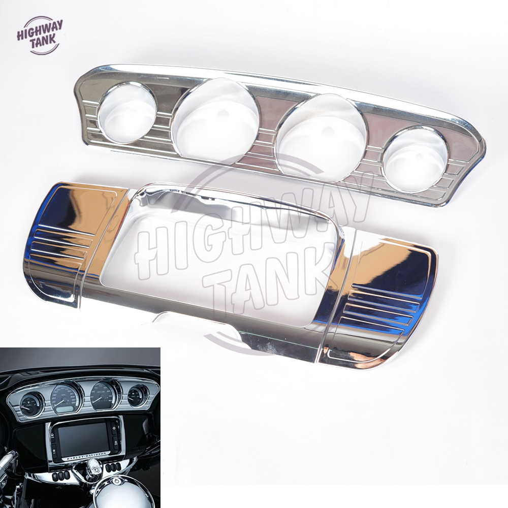 Motorcycle Central Console Tri-Line Gauge Stereo Trim Cover case for Harley Touring Electra Street Glide Trike 2014-2016 9pcs aluminium alloy dashboar console central air conditioner outlet vent cover trim for ford mustang 2015 2016 2017