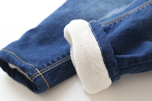 Image 5 - Pantalones vaqueros gruesos de moda para chicas, otoño e invierno, bordados para bebés, con cintura elástica, cálidos
