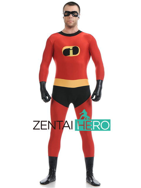 5165b714ee45 Free Shipping DHL 2017 NEW Unisex Spandex Lycra Headless Zentai Catsuit The  Incredibles Costume For Halloween With Eye Mask