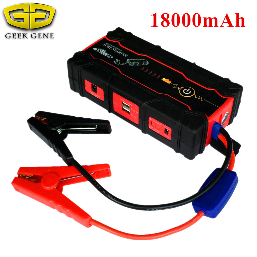 2018 Biggest Car Jump Starter Portable 18000mAh Starting Device Power Bank 12V Car Battery Charger Starting Diesel Petrol Buster multi function car jump starter for 12v diesel petrol car battery booster charger portable 400a starting devcie power bank led