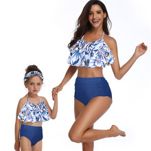 ruffled high waist mother daughter bikini swimsuits family look mommy and me swimwear matching clothes outfit beach dress