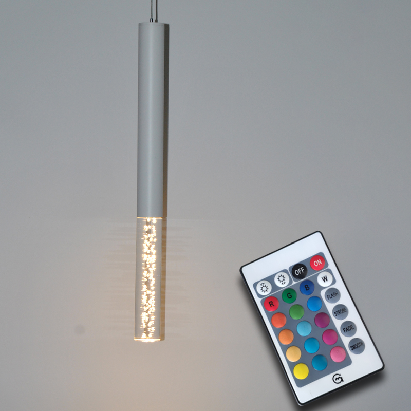 Infrared Remote Control RGB Led Pendant Lamp Cylinder Light Kitchen Island Dining Room Shop Bar Counter Decoration Pipe