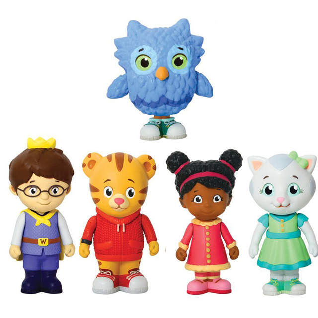 2a50f007759aff 5pcs set Daniel Tiger s Neighborhood Trolley and Figures Set Daniel Tiger  Prince Elaina Owl Katerina